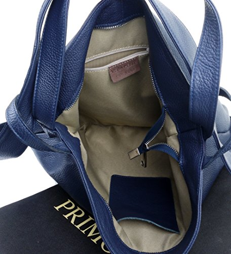 Incudes Bag Handbag Ladies Sacchi Grab Storage Primo Leather Branded Rucksac Back Pack Italian Textured Shoulder Blue Protective Navy Hq0x17w