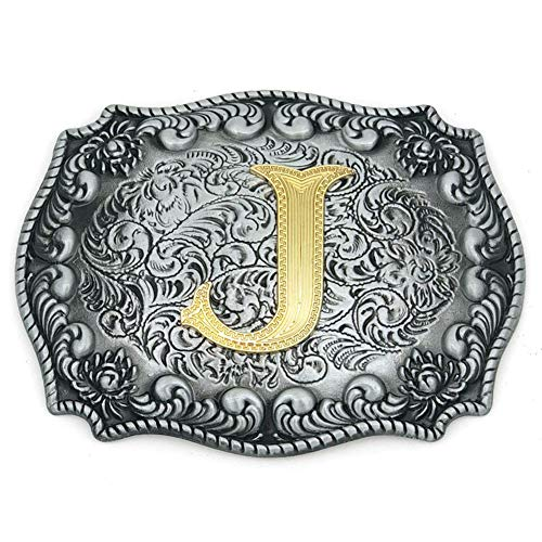 Western Belt Buckle Initial Letters ABCDEFG to Y-Cowboy Rodeo Silver Large Belt Buckle for Men and Women (J) Upgrade (Mens Silver Belt Buckles)