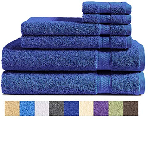 Cozy Bath - 100% Cotton 6-Piece Towel Set (Navy Blue): 2 Bath Towels, 2 Hand Towels and 2 Washcloths, Classic Amercian Construction, Soft, Highly Absorbent, Machine Washable