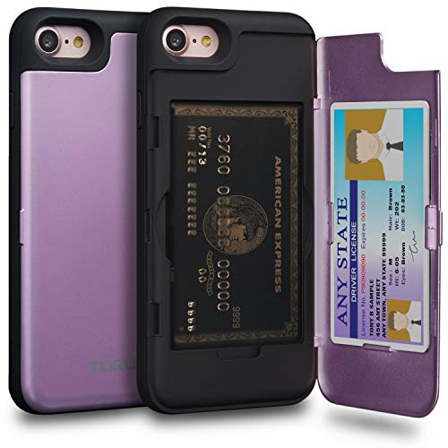 TORU CX PRO iPhone 8 Wallet Case Purple with Hidden Credit Card Holder ID Slot Hard Cover & Mirror for iPhone 8 / iPhone 7 - Lavender