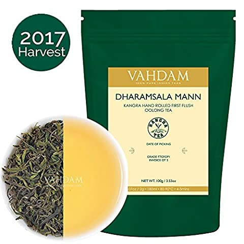 Western Himalayan Oolong Tea Leaves Hand Rolled (50 Cups), Mellow & Delicious, Sourced from the Mann Tea Estate in the Himachal Valley in India, 100% Natural Weight Loss, Detox Tea & Slimming Tea