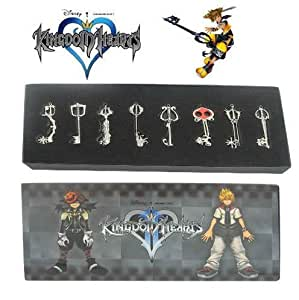 Kingdom Hearts II 8 PCS SET KEY BLADE Sora Necklace Keyblade Pendant NEW & HOT version B set