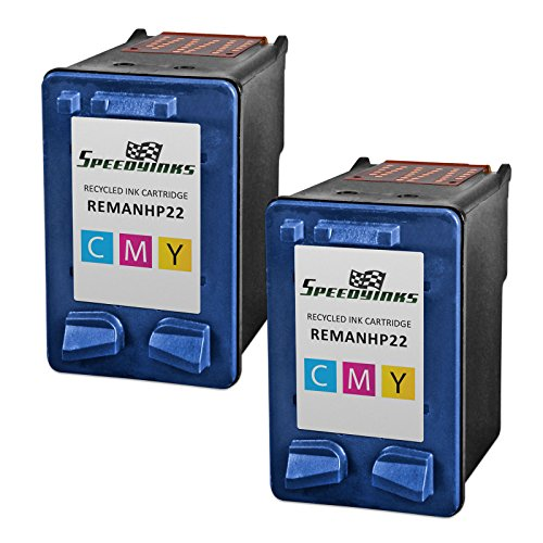 Speedy Inks - 2PK Remanufactured replacement for HP 22 C9352AN Tri-Color Ink Cartridge