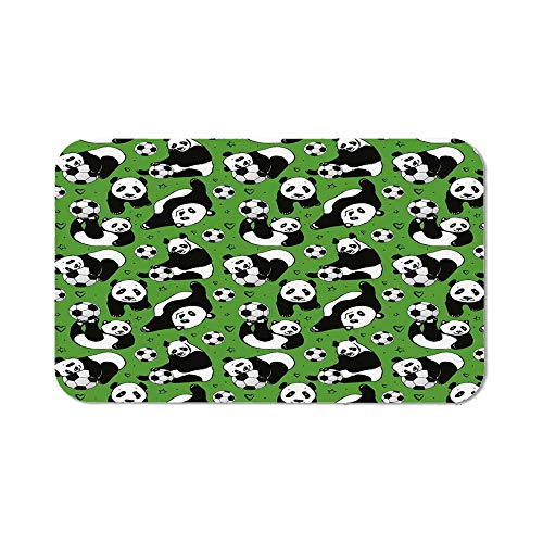 Soccer Personalized Mouse Pad,Funny Panda Animals Playing with Balls Hand Drawn Style Hearts and Stars Decorative for Work Game,11.81''Wx27.56''Lx0.08''H