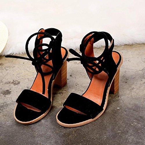 d'été Noir chaussures Fashion ® talons femmes femme Sandales Transer sangles Bandage sandales wgvqpUxB