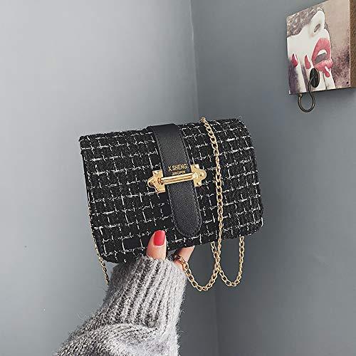 noir chaîne bandoulière pour Pochette et Feixiang femme élégante en matelassé sac poignets métallique nCwxPxH5U