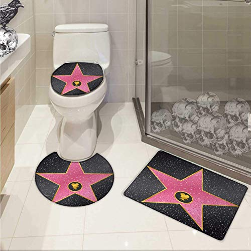 Popstar Party Toilet Carpet Floor mat Set Hollywood Walk of Fame Symbol Celebrity Entertainment Culture Elongated Toilet Lid Cover Set Charcoal Grey Pale Pink for $<!--$44.00-->