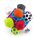 Sassy Chime & Chew Textured Ball 7 Multiple textures & materials engage baby's developing tactile sensitivity & teach baby about variety Chunky sized bumps encourage reaching, grasping, and transferring from one hand to the other Gentle rattle sounds create neural connections in babies brains from birth through 3 years