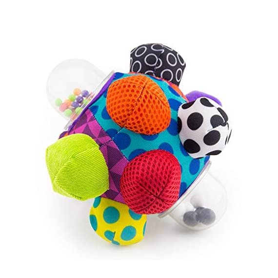 Sassy Chime & Chew Textured Ball 2 Multiple textures & materials engage baby's developing tactile sensitivity & teach baby about variety Chunky sized bumps encourage reaching, grasping, and transferring from one hand to the other Gentle rattle sounds create neural connections in babies brains from birth through 3 years