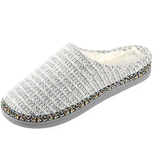 (RockDove Women's Birch Sweater Knit Slipper, Size 7-8 US Women, Dove White)