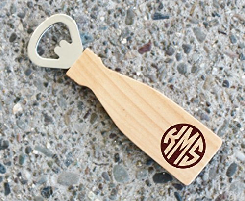 Monogrammed Personalized Maple Wood Magnetic Beer Bottle Ope