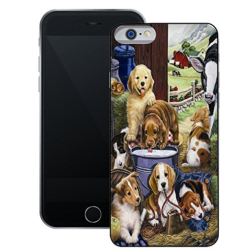 Puppies | Handgefertigt | iPhone 6 6s (4,7') | Schwarze Hülle
