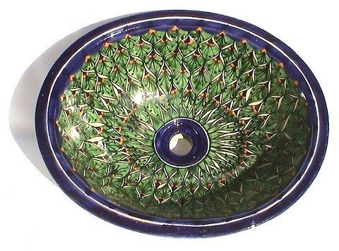 (Fine Crafts Imports Green Peacock Ceramic Talavera Sink)