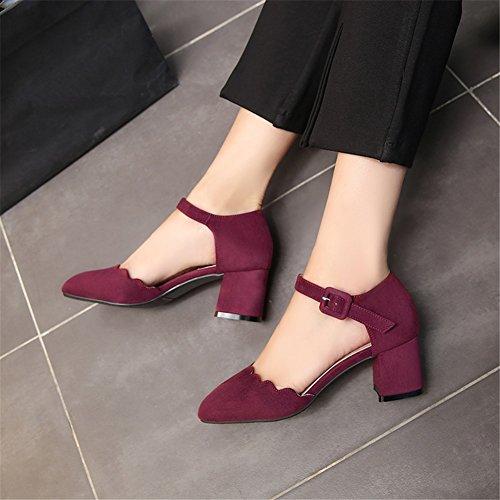 Wine Casual Rough Mujer Baotou Suede Gray Zapatos Novedad A de Vestido Summer Sandalias Black de para Red Spring Heel Mujer RZYwqPZ6