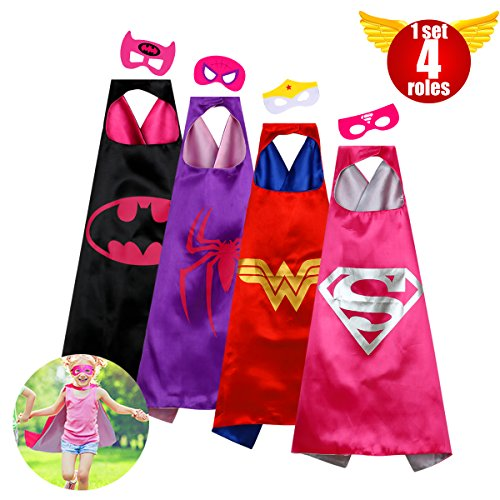 Superhero Costumes - Capes Girls Superhero Toddler Costumes Super Hero Kids Toys Satin Comics Cartoon Dress Up Felt Masks Costume Set Children Super Hero Theme Halloween birthday Christmas Gifts Party 4roles(girls)