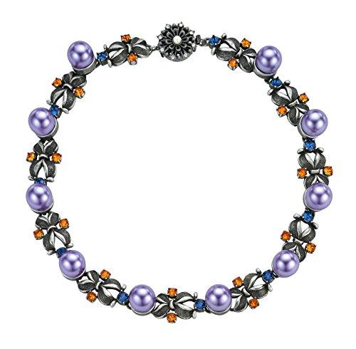 MAWI Londres cristal clouté Bow Collier avec perles monté de longueur 45cm