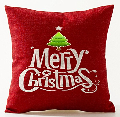 Christmas Tree Pine Merry Christmas In Red Personalized Christmas Gifts New Home Room Sofa Car Decorative Cotton Linen Throw Pillow Case Cushion Cover Square 18 X 18 Inches (Pillow Merry Red)