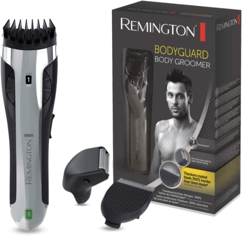 Remington Bodyguard BHT2000A - Afeitadora Corporal, Cuchillas de Titanio, Inalámbrica, Uso Seco y Mojado, Miniafeitadora de Láminas, Plata y Negro