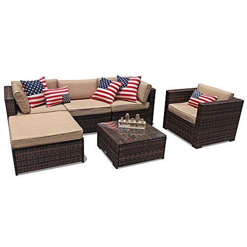 PATIOROMA Outdoor Furniture Sectional Sofa Set (6-Piece Set) All-Weather Brown Wicker with Beige Seat Cushions & Glass Coffee Table & Single Sofa Chair| Patio, Backyard, Pool|Aluminum Frame ()