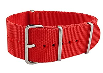 18-22mm Red Luxury Exquisite Women's One-Piece Nato style Exotic Nylon Perlon Watch Band Strap