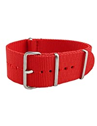 18mm Red Luxury Exquisite Women's One-Piece Nato style Exotic Nylon Perlon Watch Band Strap
