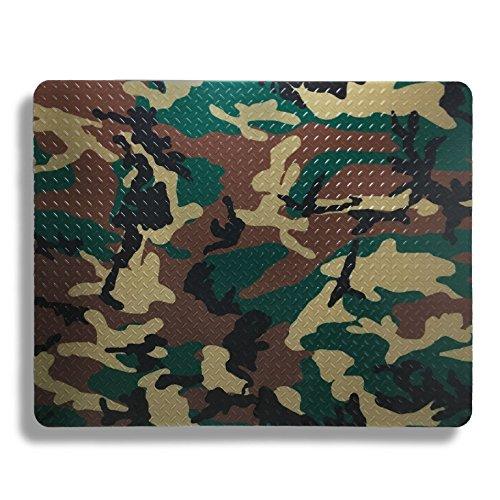 - Resilia Plastic, Anti-Stain Grill Mat Garage Protective Mat - Decorative Embossed Diamond Plate Pattern - Silver, (3 Feet x 4 Feet) (Camo)