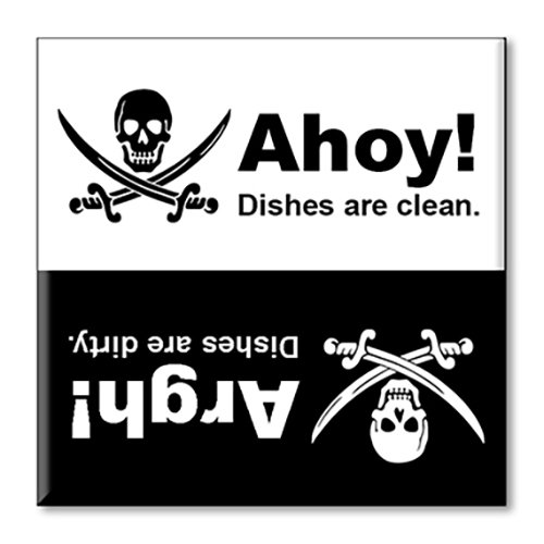 Guajolote Prints Pirate Skull Clean Dirty Dishwasher Magnet 2.5 X 2.5 Inches