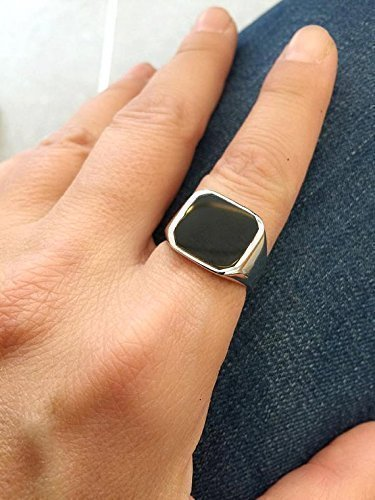Dad Onyx Ring (Onyx Ring, Handmade Signet Ring, Black Square Seal, Sterling Silver, size 4-12 us)