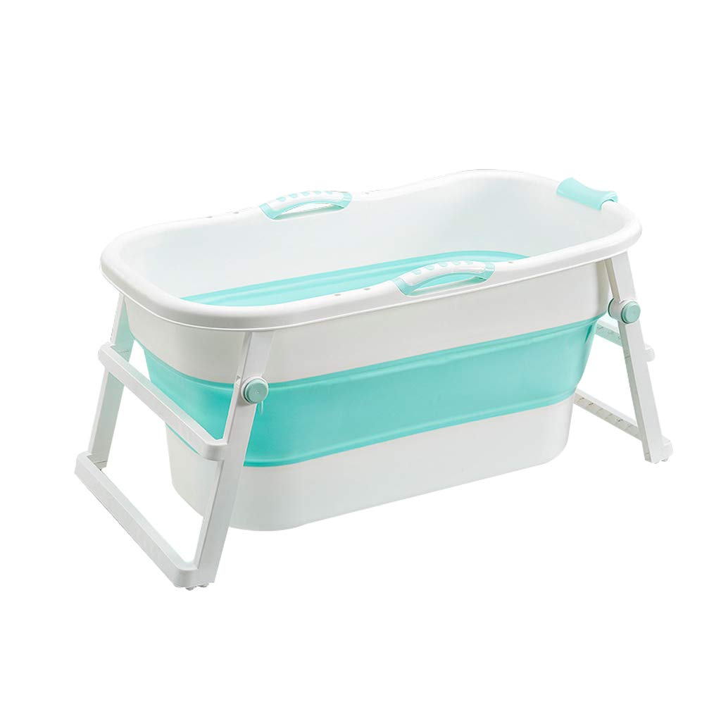 YONGJUN Foldable Portable Children's Bathtub, Toddler Baby Plastic Thick Bath Home, Large Space, Pink, Blue (Color : Blue)