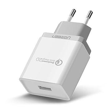 UGREEN Cargador Rápido QC 2.0, 18W USB Cargador Móvil Pared Quick Charger 5V/2A, 9V/2A y 12V/1.5A para Samsung S8 Plus / S8 / Note 8, Xiaomi Mi 3 /Mi ...