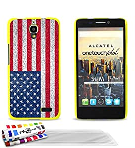 MUZZANO Le Pearls-Carcasa, diseño bandera USA amarillo + UltraClear Pack de 3protectores de pantalla con gamuza/lápiz capacitivo para Alcatel OT 6030
