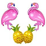 Toys : SAKOLLA Large Size Flamingo and Pineapple Helium Balloon,Flamingo Party Decorations, Hawaii Luau Party Supplies - Pack of 4