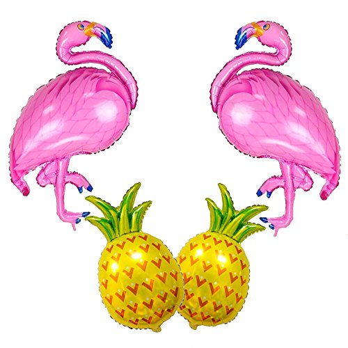SAKOLLA Large Size Flamingo and Pineapple Helium Balloon,Flamingo Party Decorations, Hawaii Luau Party Supplies - Pack of 4 -