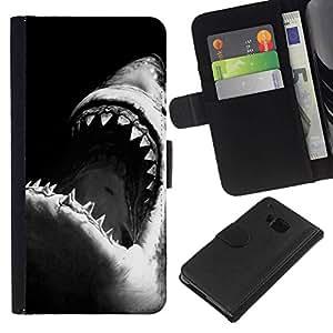 All Phone Most Case / Oferta Especial Cáscara Funda de cuero Monedero Cubierta de proteccion Caso / Wallet Case for HTC One M9 // mandíbulas de tiburón surf blanco negro de surf