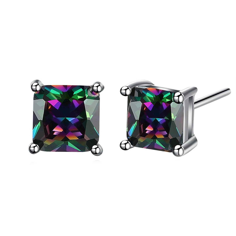 FENDINA Men's Princess Cut Created Mystic Fire Topaz Stud Earrings Stainless Steel Rainbow Eardrop Jewelry