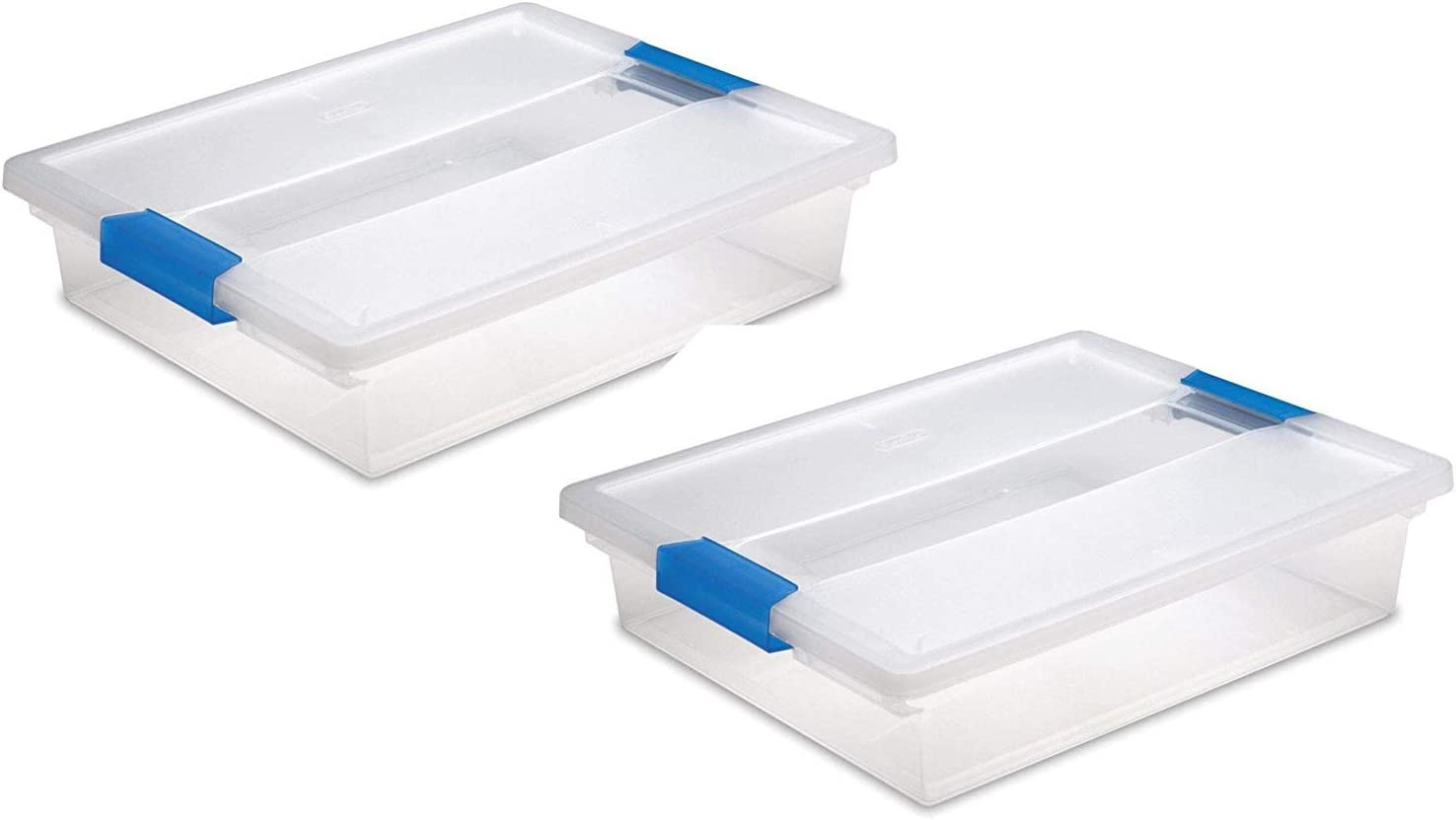 STERILITE Large Clip Box, Clear with Blue Aquarium Latches, 2 Pack