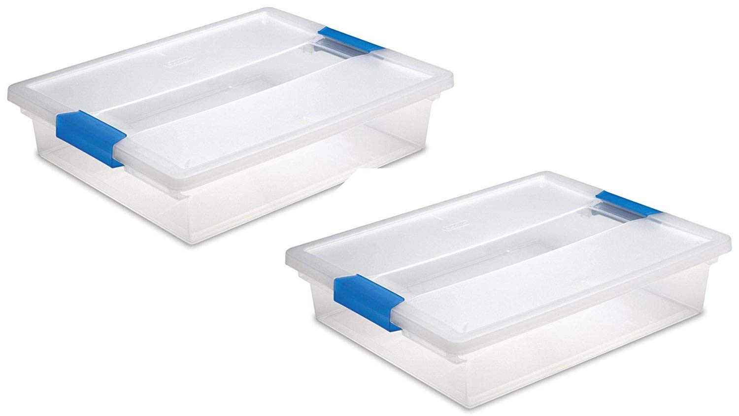 STERILITE Large Clip Box, Clear with Blue Aquarium Latches, 2 Pack by STERILITE