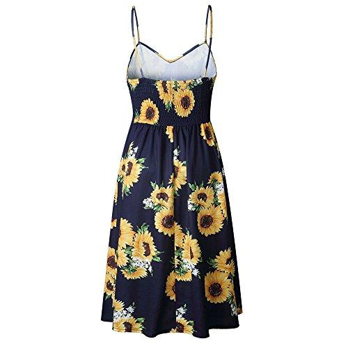para Girasol Vestido Vestido Falda Mangas de Honda Moda Mujeres Dress❤️️Lonshell de de la Armada de Sexy Botón Vestido Verano Señoras Sin Bffdrq
