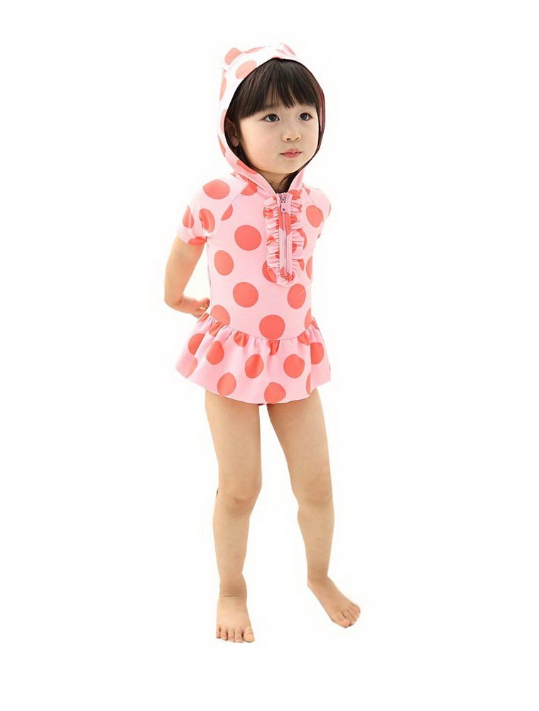 Cute Girl Swimwear Dotted One Piece with Hoodie, pink, 4-5 Years old, 6T PANDA SUPERSTORE PS-SPO2420249011-EMILY00849