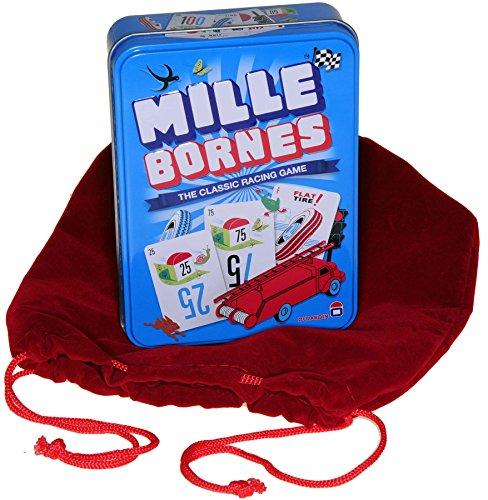 Mille Bornes Card Game in Colorful Tin _ Bonus RED Velvet Drawstring Pouch _ Bundled Items