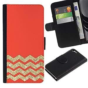 For Apple iPhone 5 / iPhone 5S,S-type® Orange Zig Zag Pattern - Dibujo PU billetera de cuero Funda Case Caso de la piel de la bolsa protectora
