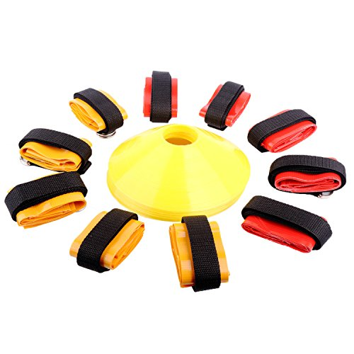 Ueasy 10 Players or 14 Players Flag Football Set (Belts, Flags, Disc Cones, Carry Bag) For Kids Youth Adult Football Training (Yellow+Red for 10 Players) (Webbed Court)