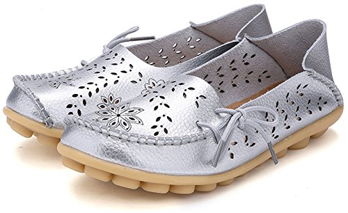 Loafers Slip 2 Silver Leather Floral Womens Fangsto Flat Ons Slipper Sty Shoes xqIZ4fC0