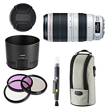 Canon EF 100-400mm f/4.5-5.6L IS II USM Lens for Canon SLR Cameras + 3pc Filter Kit + Lens Hood + Deluxe Lens Pouch + Cap Keeper + Lens Cleaning Pen Accessory Bundle Kit