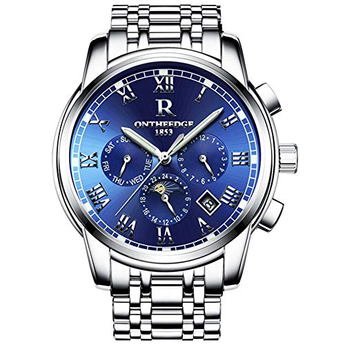 Mens Swiss Automatic movement Watches,Stainless Steel Waterproof Wrist Watch (blue)