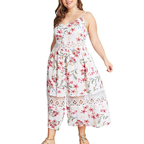 Holagift Women's Plus Size Dresses Lace Floral Sleeveless Summer Loose Casual Maxi Dress (B-White, 14/16)