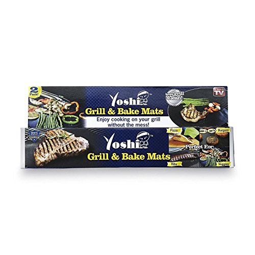 Yoshi Grill Bake Nonstick BBQ Mats 2 Pack Easy Grilling Baking As Seen on Tv image