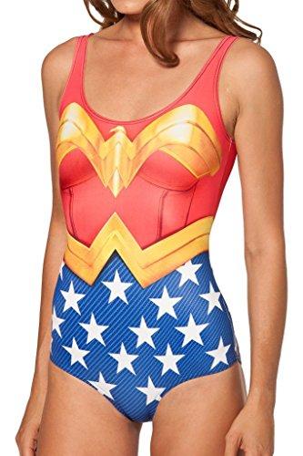 Women Digital Print One Piece Tight Stretch Swimsuit Swimwear Wonder Woman, One Size, Wonder Woman