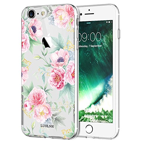 iPhone 6 case,iPhone 6s Case with Flowers, LUOLNH Slim Clear Chrome Gold Floral Pattern Soft Flexible TPU Back Cover Case for Apple iPhone 6/6s [4.7 inch] -G