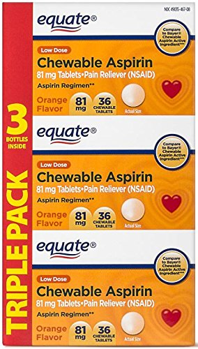 Equate Aspirin 81 Mg, Adult Low Dose, Orange Flavor, 108 Chewable Tablets, (Compare to Bayer Chewable (Orange Flavored Chewable)